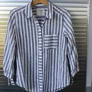 Abercrombie striped collared shirt s